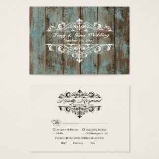 Blue Distressed Wood Wedding RSVP Card
