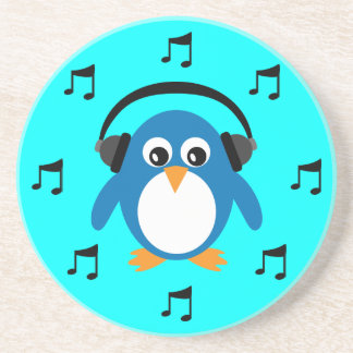 Blue DJ Penguin, Headphones & Musical Notes Drink Coaster
