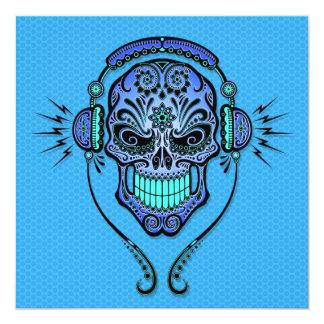 """Blue DJ Sugar Skull 5.25"""" Square Invitation Card"""