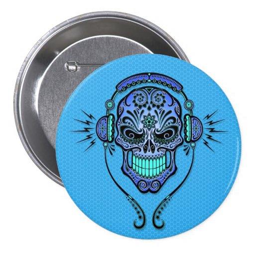 Blue DJ Sugar Skull Buttons