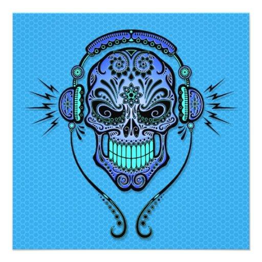 Blue DJ Sugar Skull Custom Invites