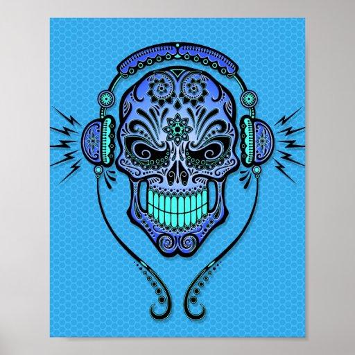 Blue DJ Sugar Skull Poster