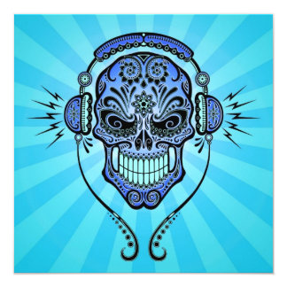 Blue DJ Sugar Skull with Rays of Light Custom Announcement
