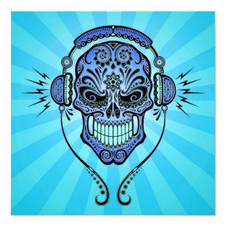 Blue DJ Sugar Skull with Rays of Light Custom Announcement