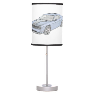 Blue Dodge Challenger Pencil Style Drawing Table Lamp