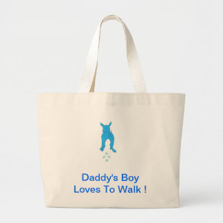Blue Dog Ears Up Daddy's Boy Large Tote Bag