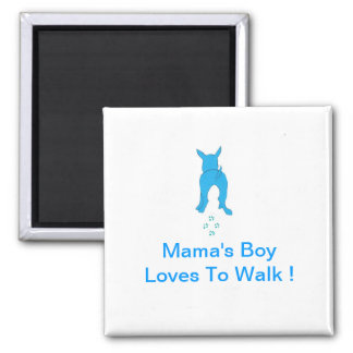 Blue Dog Ears Up Mama's Boy Square Magnet