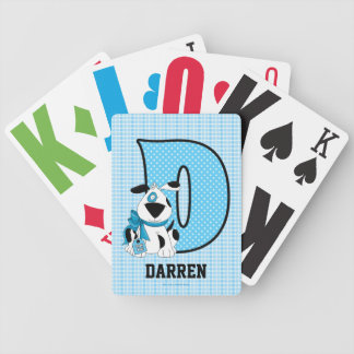 Blue Dog Monogrammed Kid's Playing Cards