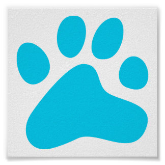 Blue Dog Paw Poster