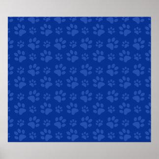 Blue dog paw print pattern