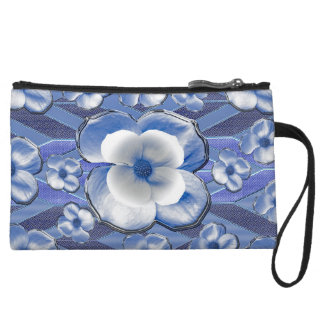 Blue Dogwood Flowers Wristlet