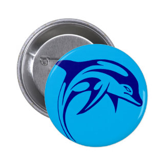 Blue dolphin 2 inch round button