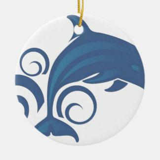 Blue dolphin ceramic ornament