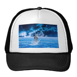Blue Dolphin Jumping Trucker Hat