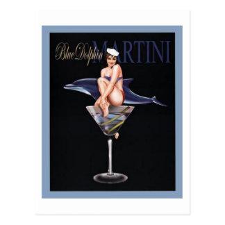 Blue Dolphin Martini Postcard