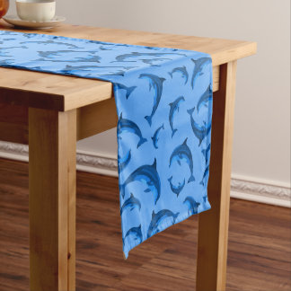 Blue Dolphin Pattern Coastal Table Runner
