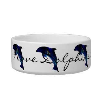 "Blue Dolphin Pet Bowl ""Venetian"" by SimplyTonjia"