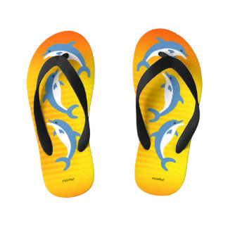 Blue Dolphins Dancing in the Tropical Sun Kid's Flip Flops