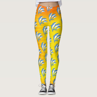 Blue Dolphins Dancing in the Tropical Sun Leggings