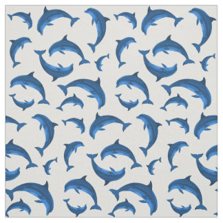 Blue Dolphins Jumping Pattern on Gray Fabric