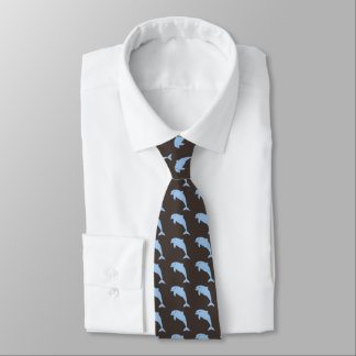 Blue dolphins on brown tie