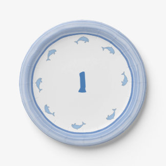 Blue Dolphins Party Supplies 7 Inch Paper Plate