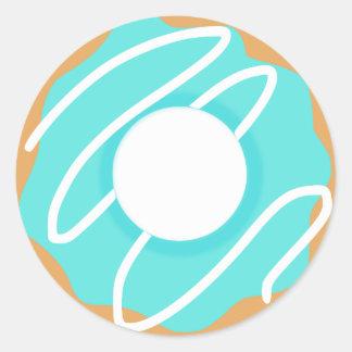 Blue Donut Classic Round Sticker