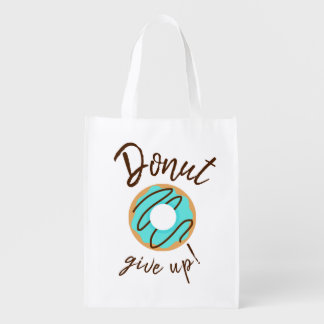 Blue Donut Give Up Reusable Grocery Bag