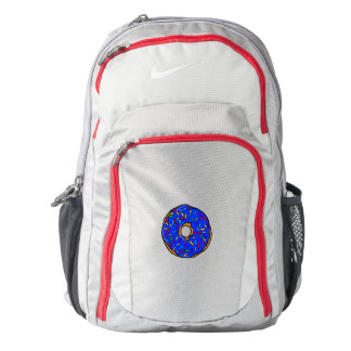 Blue Donut Rainbow Colorful Sprinkles Art Yummy Backpack