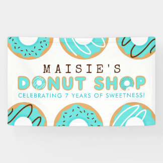 Blue Donut Shop Birthday Party Banner