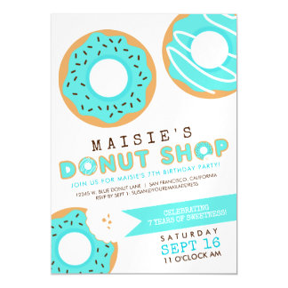 Blue Donut Shop Birthday Party Magnetic Card