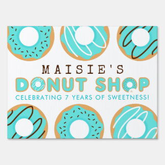 Blue Donut Shop Birthday Party Sign