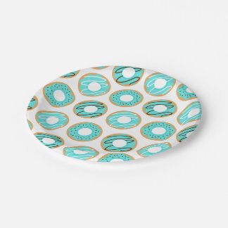 Blue Donuts Pattern Paper Plate