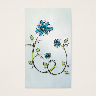 Blue Doodle Flower Business Card