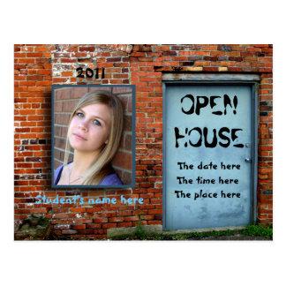 Blue door brick wall open house postcard