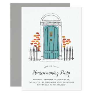 Blue Door Housewarming Party Invitation