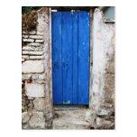 BLUE DOOR  Old Town of Chania, Crete Postcard