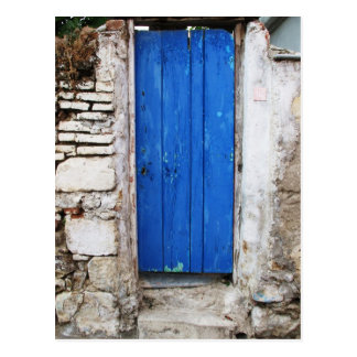 BLUE DOOR  Old Town of Chania, Crete Postcard