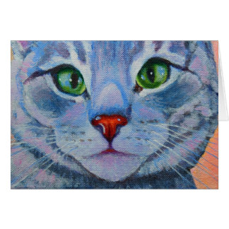 Blue Dora, Grey Tabby Cat Card