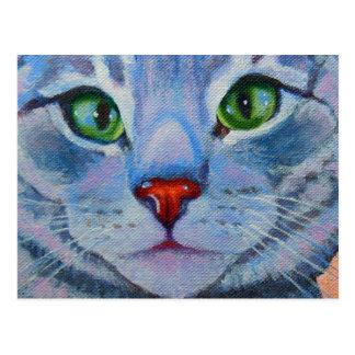 Blue Dora, Grey Tabby Cat Postcard