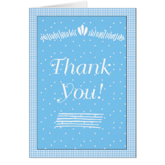 Blue Dots and Gingham Thank You Note Card