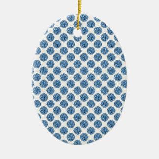 Blue dots ceramic ornament