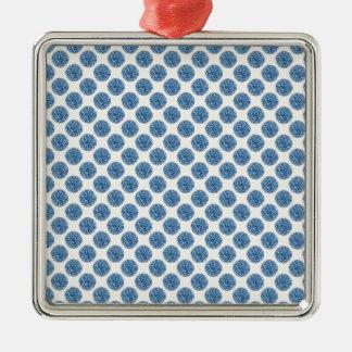 Blue dots metal ornament