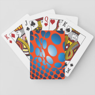 Blue Dots on Orange Playing Cards
