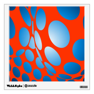 Blue Dots on Orange Wall Decal