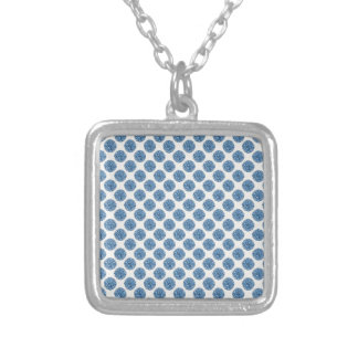 Blue dots silver plated necklace