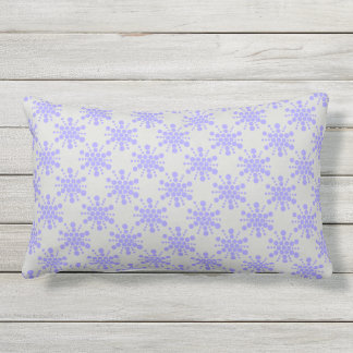 Blue dotted stars on pebble grey lumbar pillow