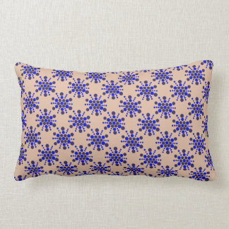 Blue dotted stars on taupe lumbar pillow