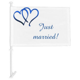 Blue Double Heart Just Married Car Flag