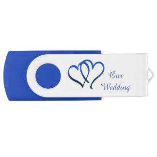 Blue Double Heart Wedding USB Drive Swivel USB 2.0 Flash Drive